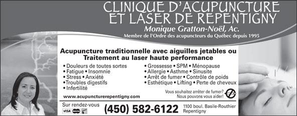 Clinique D'Acupuncture Et Laser De Repentigny (450-582-6122) - Annonce illustrée======= -