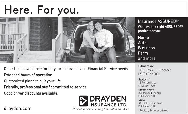 Drayden Insurance Ltd (780-482-6300) - Display Ad -