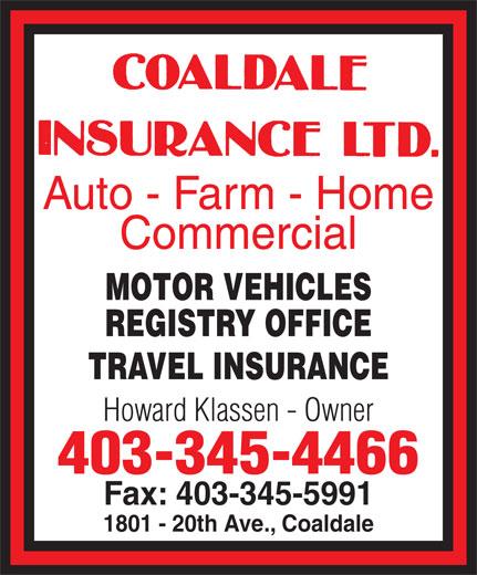 Coaldale Insurance Ltd (403-345-4466) - Display Ad -