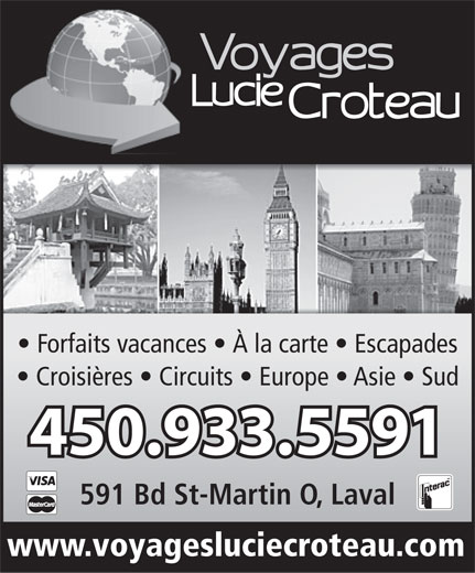Voyages Lucie Croteau (450-933-5591) - Display Ad -