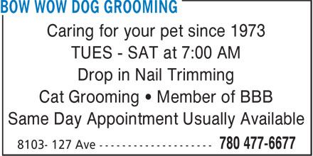 Bow Wow Dog Grooming (780-477-6677) - Display Ad - Caring for your pet since 1973 TUES - SAT at 7:00 AM Drop in Nail Trimming Cat Grooming • Member of BBB Same Day Appointment Usually Available Caring for your pet since 1973 TUES - SAT at 7:00 AM Cat Grooming • Member of BBB Same Day Appointment Usually Available Caring for your pet since 1973 TUES - SAT at 7:00 AM Drop in Nail Trimming Cat Grooming • Member of BBB Same Day Appointment Usually Available Caring for your pet since 1973 TUES - SAT at 7:00 AM Drop in Nail Trimming Drop in Nail Trimming Cat Grooming • Member of BBB Same Day Appointment Usually Available
