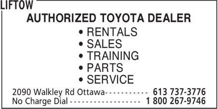 Liftow (613-737-3776) - Annonce illustrée======= - AUTHORIZED TOYOTA DEALER • RENTALS • SALES • TRAINING • PARTS • SERVICE