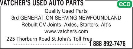Ads Vatcher's Used Auto Parts