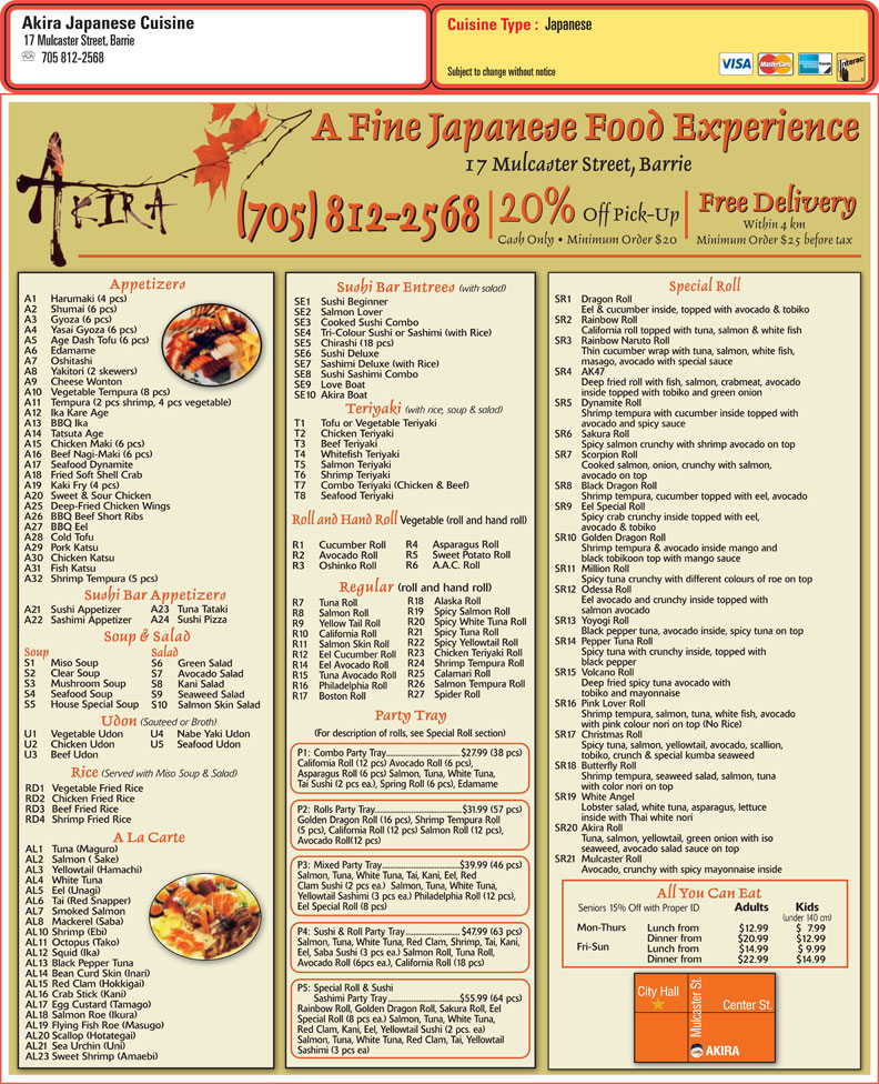 Akira sushi a fine japanese food experience barrie for Akira japanese cuisine nyc
