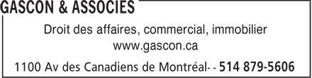 Gascon & Associés (514-879-5606) - Annonce illustrée======= - Droit des affaires, commercial, immobilier www.gascon.ca  Droit des affaires, commercial, immobilier www.gascon.ca