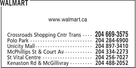 Walmart Supercentre (204-669-3575) - Annonce illustrée======= - www.walmart.ca