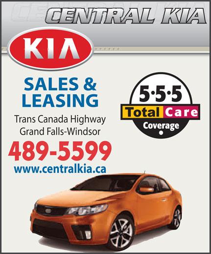 Central Kia (709-489-5599) - Annonce illustrée======= - SALES & LEASING Trans Canada Highway Grand Falls-Windsor 489-5599 www.centralkia.ca  SALES & LEASING Trans Canada Highway Grand Falls-Windsor 489-5599 www.centralkia.ca