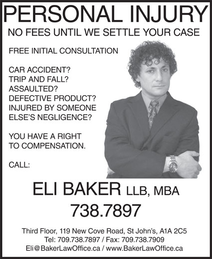 Baker Eli Law Offices (709-738-7897) - Display Ad -