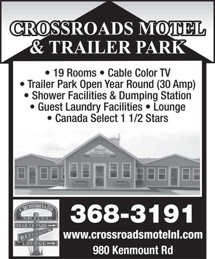 Crossroads Motel (709-368-3191) - Display Ad -