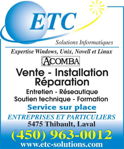 ETC Solutions Informatiques (450-963-0012) - Annonce illustrée======= -