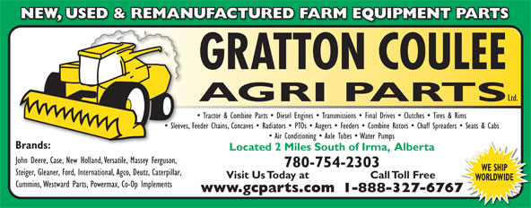 Gratton Coulee Agri Parts Ltd (780-754-2303) - Annonce illustrée======= -