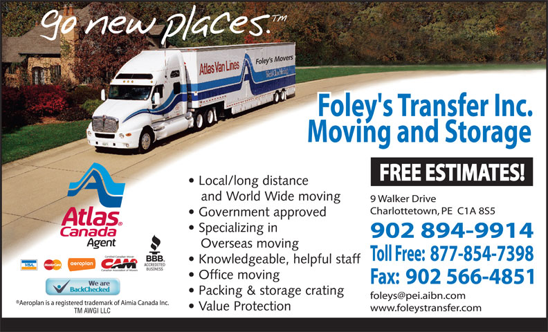 Foley's Transfer Inc (902-894-9914) - Annonce illustrée======= -