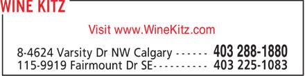 Wine Kitz Varsity (403-288-1880) - Display Ad - Visit www.WineKitz.com