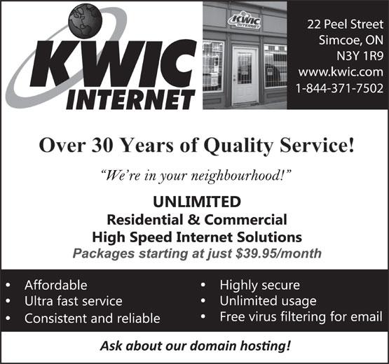 KWIC Internet (519-428-4650) - Annonce illustrée======= - 1-844-371-7502