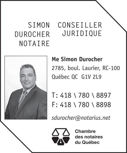 Notaire Simon Durocher Me (418-780-8897) - Annonce illustrée======= -