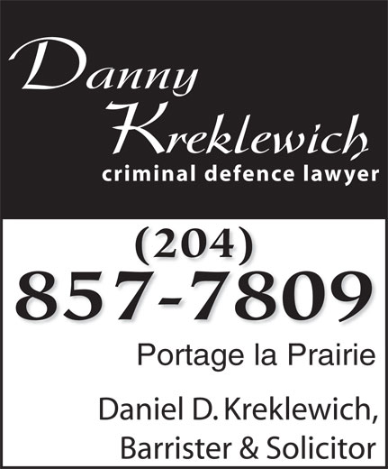 Kreklewich Daniel Barrister & Solicitor (204-857-7809) - Annonce illustrée======= -