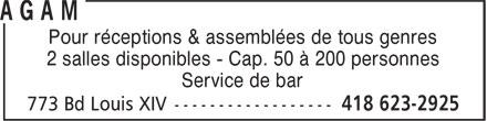 Centre de quilles Trait-Carré AGAM (418-623-2925) - Annonce illustrée======= - Pour réceptions & assemblées de tous genres 2 salles disponibles - Cap. 50 à 200 personnes Service de bar