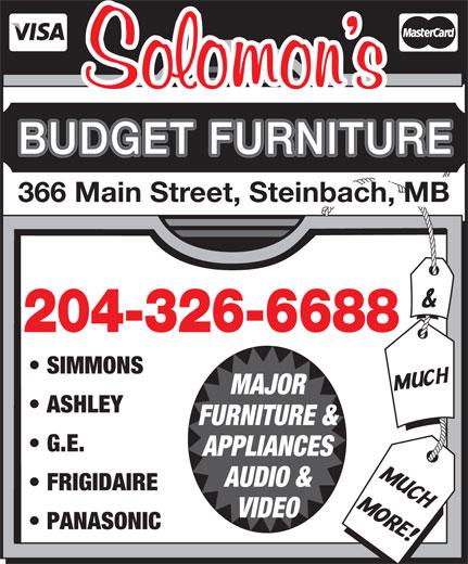 Solomons Budget Furniture (204-326-6688) - Annonce illustrée======= -