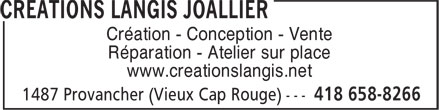 Créations Langis Joallier (418-658-8266) - Annonce illustrée======= - www.creationslangis.net Création - Conception - Vente Réparation - Atelier sur place