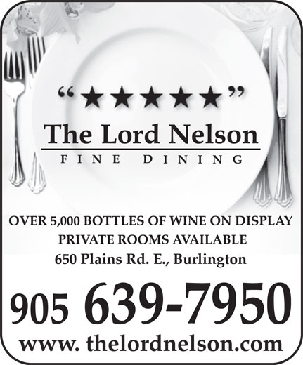 Lord Nelson Fine Dining (905-639-7950) - Annonce illustrée======= -