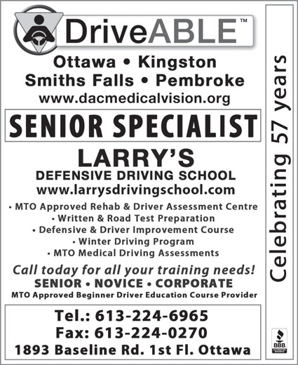 Larry's Defensive Driving School (613-224-6965) - Annonce illustrée======= - 57 57