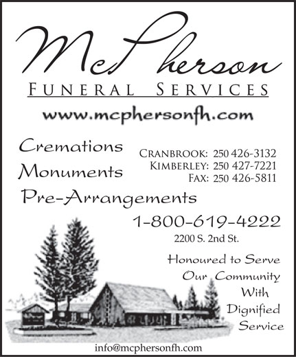 McPherson Funeral Services (250-426-3132) - Display Ad -