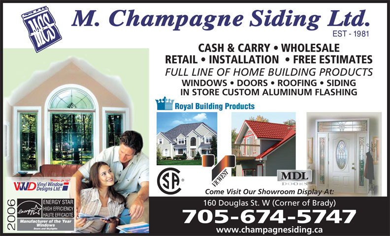 M Champagne Siding Ltd 160 Douglas St Sudbury On