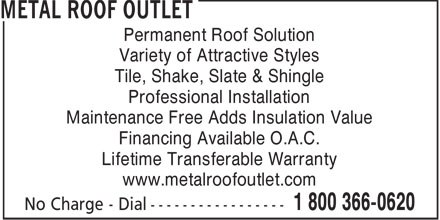 Metal Roof Outlet (519-688-2200) - Annonce illustrée======= - Permanent Roof Solution Variety of Attractive Styles Tile, Shake, Slate & Shingle Professional Installation Maintenance Free Adds Insulation Value Financing Available O.A.C. Lifetime Transferable Warranty www.metalroofoutlet.com  Permanent Roof Solution Variety of Attractive Styles Tile, Shake, Slate & Shingle Professional Installation Maintenance Free Adds Insulation Value Financing Available O.A.C. Lifetime Transferable Warranty www.metalroofoutlet.com  Permanent Roof Solution Variety of Attractive Styles Tile, Shake, Slate & Shingle Professional Installation Maintenance Free Adds Insulation Value Financing Available O.A.C. Lifetime Transferable Warranty www.metalroofoutlet.com  Permanent Roof Solution Variety of Attractive Styles Tile, Shake, Slate & Shingle Professional Installation Maintenance Free Adds Insulation Value Financing Available O.A.C. Lifetime Transferable Warranty www.metalroofoutlet.com  Permanent Roof Solution Variety of Attractive Styles Tile, Shake, Slate & Shingle Professional Installation Maintenance Free Adds Insulation Value Financing Available O.A.C. Lifetime Transferable Warranty www.metalroofoutlet.com  Permanent Roof Solution Variety of Attractive Styles Tile, Shake, Slate & Shingle Professional Installation Maintenance Free Adds Insulation Value Financing Available O.A.C. Lifetime Transferable Warranty www.metalroofoutlet.com