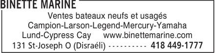 Binette Marine (418-449-1777) - Annonce illustrée======= -