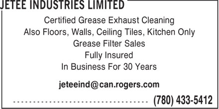 Jetee Industries Limited (780-433-5412) - Display Ad -