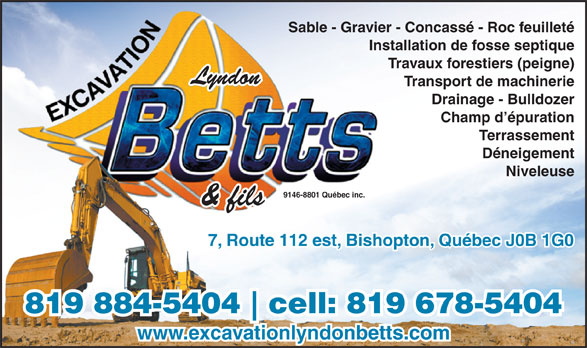 Excavation Lyndon Betts (819-884-5404) - Display Ad -