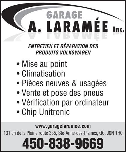 Garage A. Laramée Inc (450-838-9669) - Annonce illustrée======= -