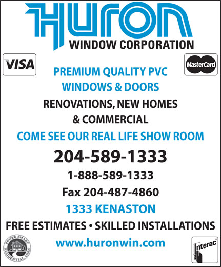 Huron Window Corporation (204-589-1333) - Display Ad -