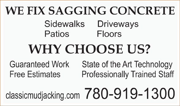 Classic Concrete and Mudjacking (780-919-1300) - Display Ad -
