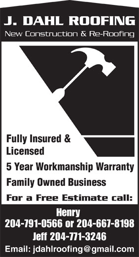 J Dahl Roofing (204-791-0566) - Display Ad -