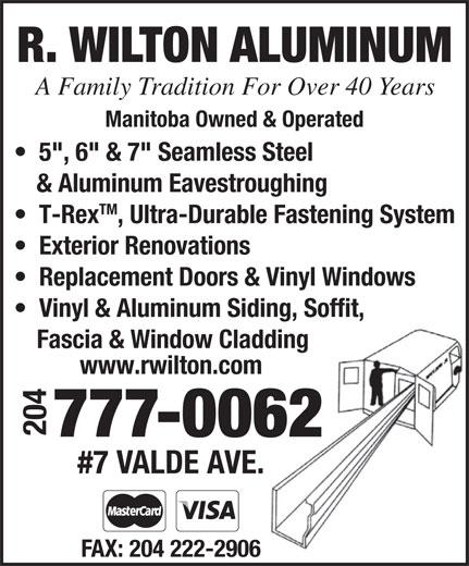 Wilton R Aluminum (204-777-0062) - Annonce illustrée======= -