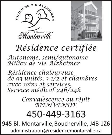 Résidence Montarville (450-449-3163) - Annonce illustrée======= -