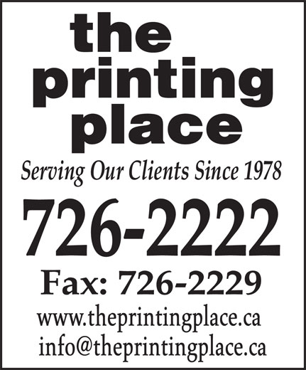 The Printing Place (709-726-2222) - Annonce illustrée======= - www.theprintingplace.ca