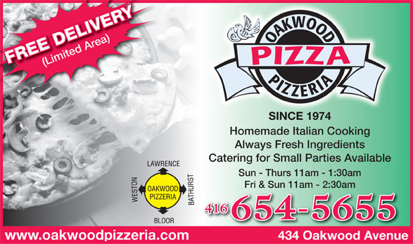 Oakwood Pizzeria (416-654-5655) - Annonce illustrée======= -