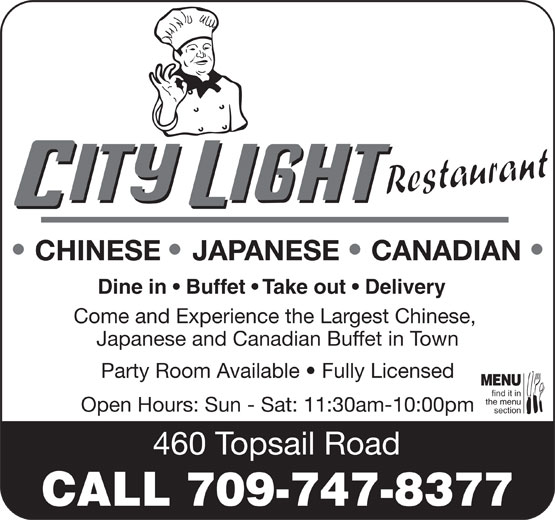 City Light Restaurant (709-747-8377) - Annonce illustrée======= -