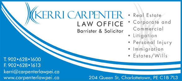 Carpenters Ricker (902-628-1600) - Annonce illustrée======= - Corporate and Commercial Litigation Personal Injury Immigration Estates/Wills 204 Queen St, Charlottetown, PE C1B 7L3 Real Estate