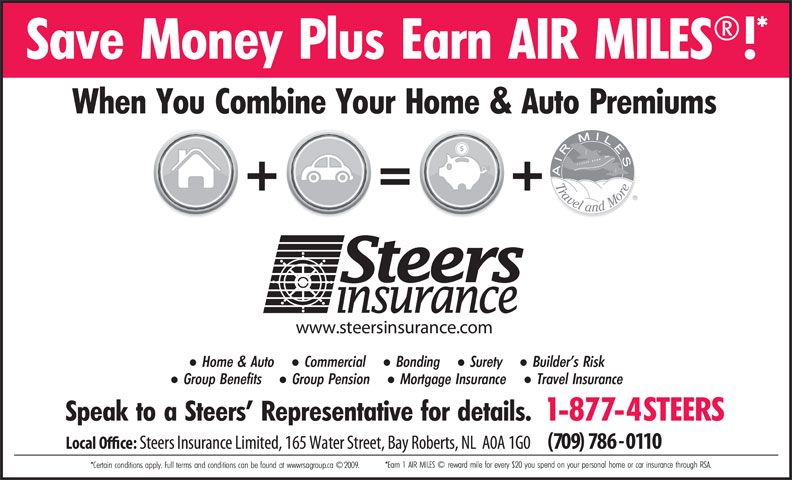 Steers Insurance Limited (709-786-0110) - Annonce illustrée======= -