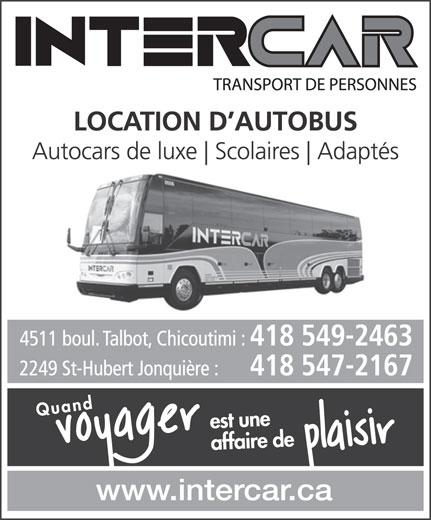 Intercar (418-547-2167) - Annonce illustrée======= -