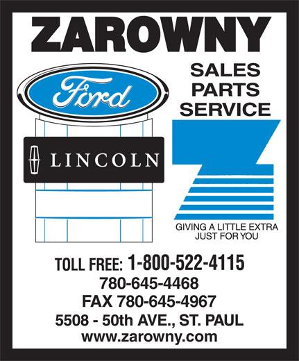 Zarowny Ford Lincoln Motors (780-645-4468) - Annonce illustrée======= - ZAROWNY 780-645-4468 FAX 780-645-4967 www.zarowny.com