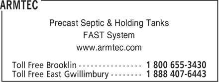 Armtec (1-800-655-3430) - Display Ad - Precast Septic & Holding Tanks FAST System www.armtec.com