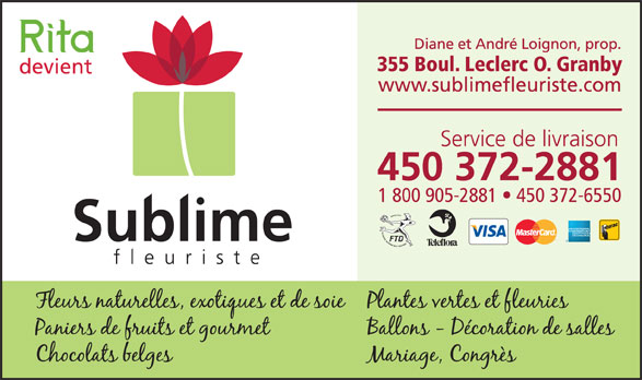 Sublime Fleuriste (450-372-2881) - Annonce illustrée======= -
