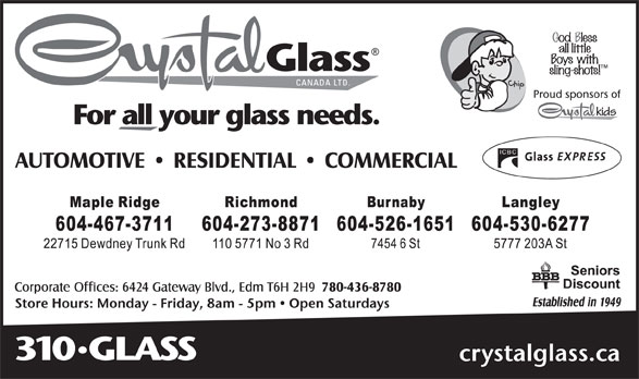 Crystal Glass Canada Ltd (604-526-1651) - Annonce illustrée======= -
