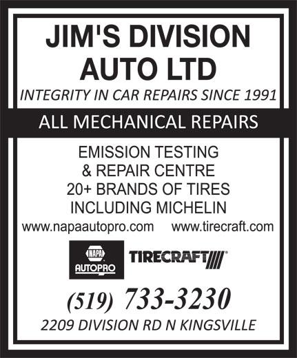 Jim's Division Auto Ltd (519-733-3230) - Annonce illustrée======= - JIM'S DIVISION AUTO LTD  JIM'S DIVISION AUTO LTD