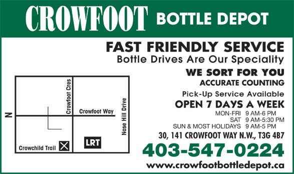 Crowfoot Bottle Depot (403-547-0224) - Display Ad -