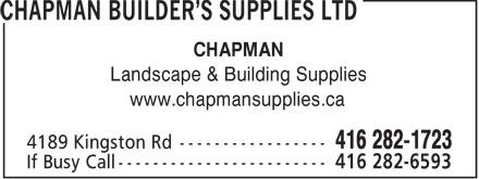 Chapman Builders Supplies Ltd (416-282-1723) - Annonce illustrée======= - CHAPMAN Landscape & Building Supplies www.chapmansupplies.ca  CHAPMAN Landscape & Building Supplies www.chapmansupplies.ca  CHAPMAN Landscape & Building Supplies www.chapmansupplies.ca  CHAPMAN Landscape & Building Supplies www.chapmansupplies.ca  CHAPMAN Landscape & Building Supplies www.chapmansupplies.ca  CHAPMAN Landscape & Building Supplies www.chapmansupplies.ca